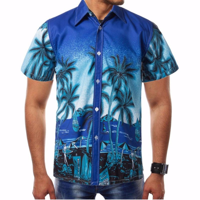 Men Shirt Summer Style Palm Tree Print Beach Hawaiian Shirt Men Casual Short Sleeve Hawaii Blouse Chemise Homme Plus Size 4XL image