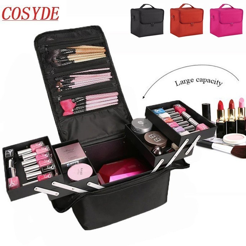 New Fashion Women Makeup Organizer Large Capacity Multilayer Clapboard Cosmetic Bag Case Beauty Salon Tattoos Nail Art Tool Bin-in Cosmetic Bags & Cases from Luggage & Bags    1