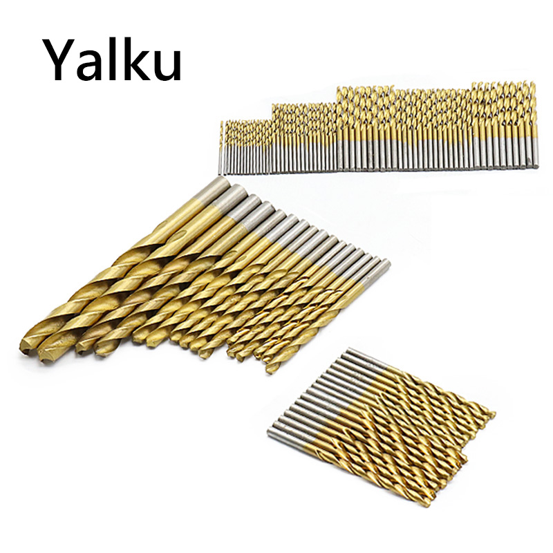 Yalku Drill Bits Set HSS High Speed Steel Titanium Coated Twist Drill Bits Power Tool Set Drill Bit Woodworking Hole 50/99pcs