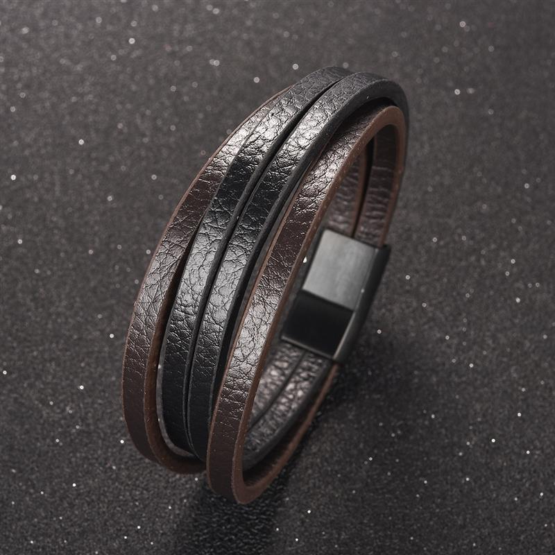 Trendy Male Jewelry Multilayer Bracelets Silver Stainless Steel Magnetic Clasps Black Leather Bangle Men 39 s Classic Wristbands in Charm Bracelets from Jewelry amp Accessories
