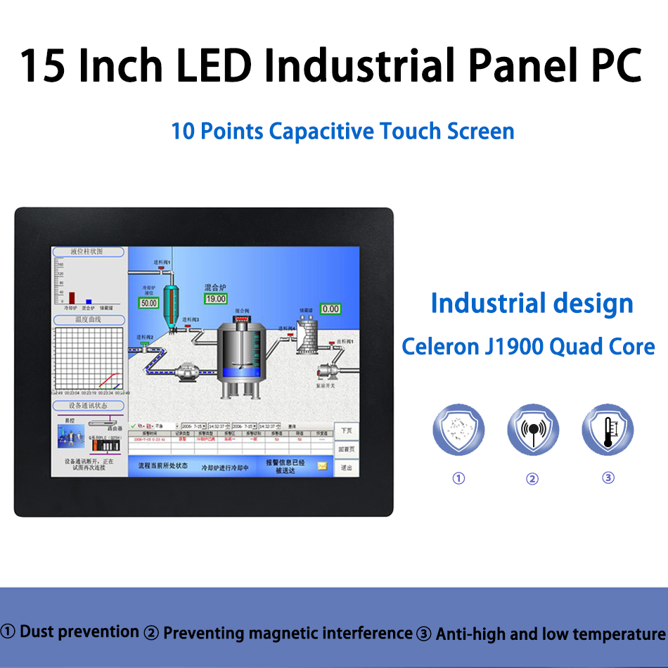 15 Inch LED Panel PC,Intel J1900,Industrial Panel PC,10 Points Capacitive Touch Screen,Windows 7/10/Linux Ubuntu,[HUNSN DA07W]