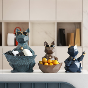 Image 4 - Cat Dog Figurines Resin Moden Crafts Animals Miniature cute ornaments for Home office decoration Storage bowl Carved Collectible
