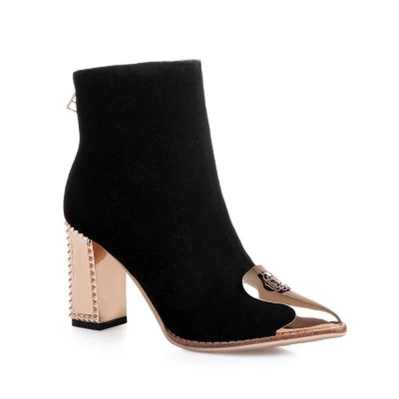 Chaussures Plate Black Moyen Tube Femmes Épais Couture black forme Métal Décoration En Bottes Courtes Rose 2018 Cheville Véritable red Cuir Daim black YUqaww8