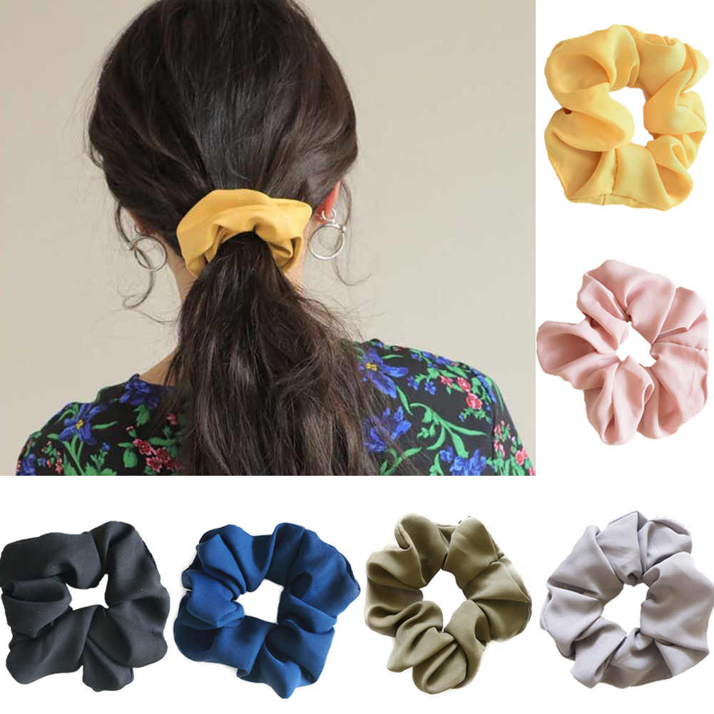แฟชั่น Lady Scrunchies ผมแหวนผมวงยืดหยุ่นผมสี Bobble กีฬาเต้นรำ Charming Scrunchie Hairband สีบริสุทธิ์