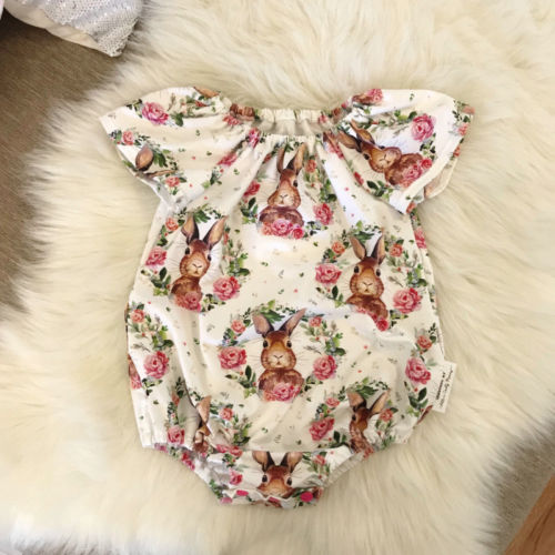 Easter Newborn Baby Girls Bunny Flowers Romper Jumpsuit Outfits Rabbit Clothes Summer Tiny Playsuit