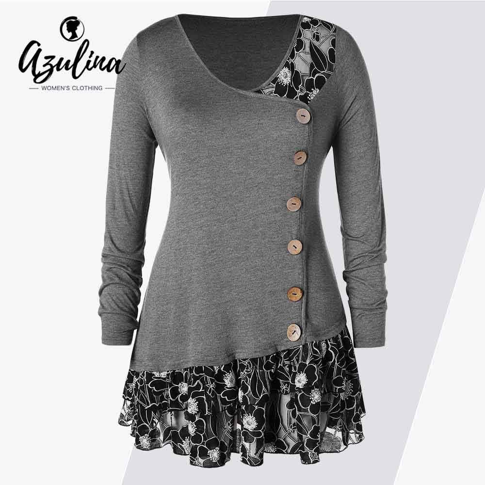 0748e75d3bb85 Rosegal Plus Size Lace Trim Flounced Buttons T-Shirt Women T-Shirts Casual  Scoop