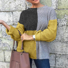 Fashion Women Round Neck Knitted Sweater Color Patchwork Jumper Long Sleeve Soft Knit Sweater Tops Elegant Woman New Sweaters round neck knit blends ombre long sleeve sweater