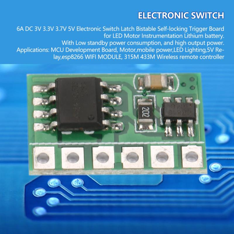 DC 3V-6V 6A Single-key Bistable Circuit Module Self-locking Switch Trigger Relay
