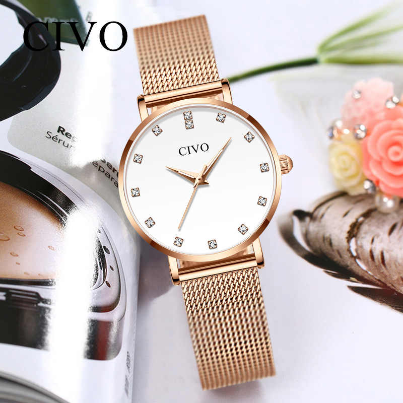 CIVO Luxury Diamond Bracelet Watch Fashion Wrist Watches For Women Waterproof Slim Steel Mesh Ladies Quartz Clock Relojes Mujer