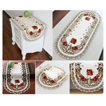 40*85cm Vintage Embroidered Lace Rectangular Tablecloth For Wedding Party Event Banquet Home Table Decoration Supply Table Cover