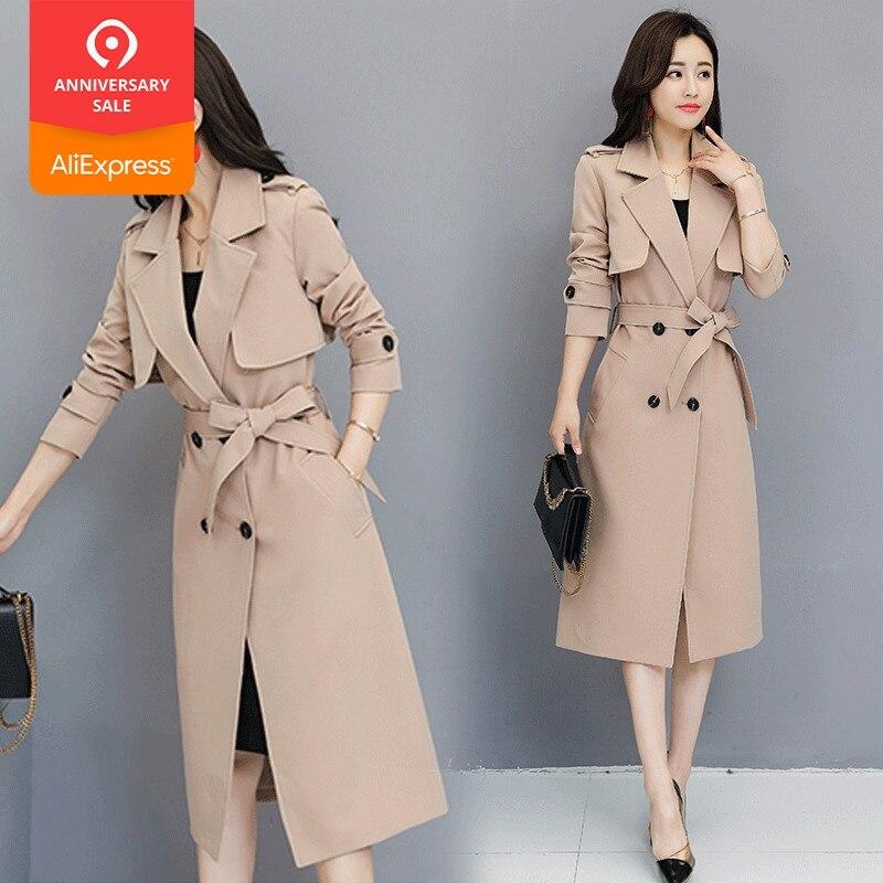 New Women   Trench   Coat Spring 2019 Autumn Fashion All-match Adjustable Waist Slim Medium-length Windbreaker Tops Outerwear Female
