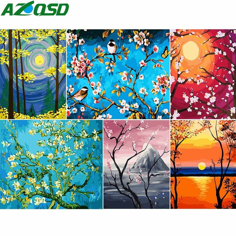 AZQSD DIY Abstract Oil Paint By Number Canvas Kits Tree&Moon Coloring By Numbers Landscape Series Wall Art Home Decor SZGD070