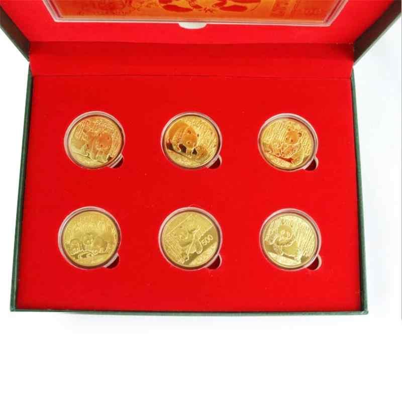 6 шт./компл. большой панды Baobao памятная монета Китайская коллекция искусство подарок позолоченная монета коллекция