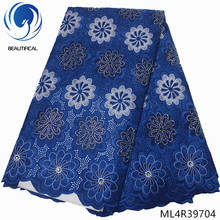 BEAUTIFICAL blue african swiss voile lace cotton fabrics high quality cheap 2019 with rhinestones wholesale ML4R397