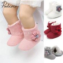 Новинка года; брендовые ботинки для новорожденных; сезон осень-зима; теплые ботинки для маленьких девочек и мальчиков с объемными вязанными цветами; однотонные детские ботинки до щиколотки на крючках