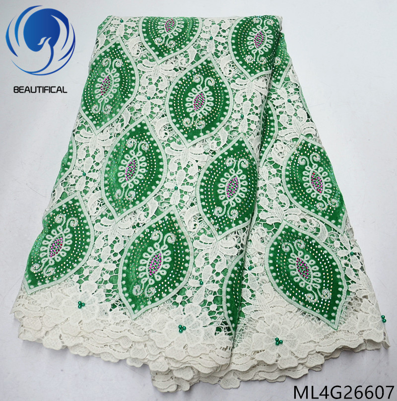 BEAUTIFICAL african lace fabrics Latest green Extremely soft plush cord lace fabric guipure lace with beads and stones ML4G266BEAUTIFICAL african lace fabrics Latest green Extremely soft plush cord lace fabric guipure lace with beads and stones ML4G266