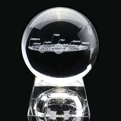 60MM Diameter 3D Crystal Ball Solar system Model Home Decoration Accessories Gift 3D Laser Engraved Quartz Glass Ball