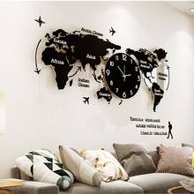 Large World Map Wall Clock Luminous Modern Design for Living Room Glow in Dark Acrylic Clocks Stickers Watch Home Decor