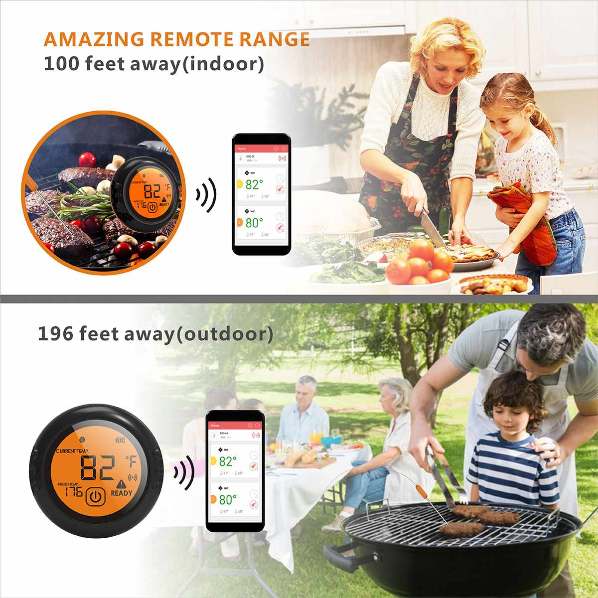 Digital Wireless Food Thermometer with Bluetooth Control and Food Cooking Timer including 6 Probes to Monitor 6 Different Foods 2