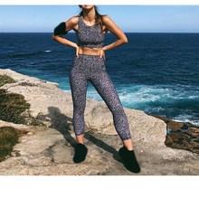 Casual Women Print Women Set Crop Tank Top 2 Pieces Sets O-Neck High Waist Leggings Pants Set