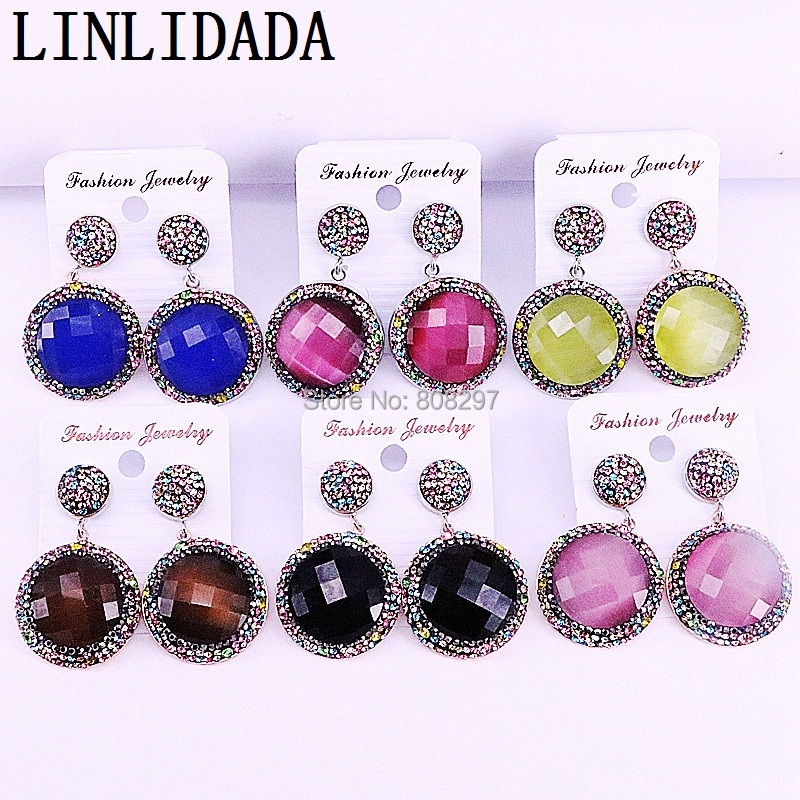 5Pairs Sparkly Dangle Earring With Rhinestone Pave Cat Eye Stone Round Shape Earring Trendy Jewelry