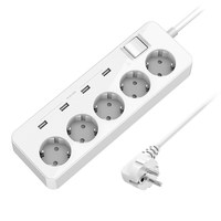 EU PLUG USB Extension Socket Power Outlet 5 AC Surge Protector Overload Protection with 4 USB Smart Charging Ports
