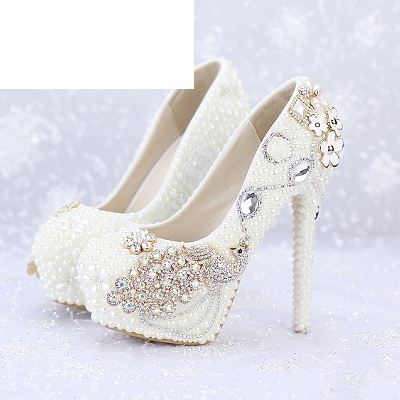 Custom Made New Ivory Pearl Wedding Shoes Round Toe Platforms Phoenix Rhinestone Bridal Dress Shoes Banquet Prom PumpsCustom Made New Ivory Pearl Wedding Shoes Round Toe Platforms Phoenix Rhinestone Bridal Dress Shoes Banquet Prom Pumps