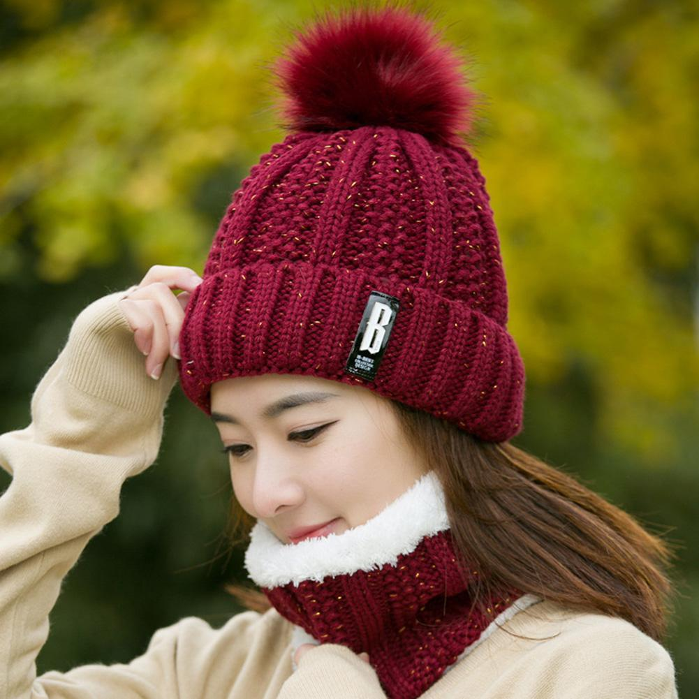 MISSKY Winter Fashion Cotton Knitted Hat Charm Women Adjustable Soft Beanies Caps Outdoor Sport Hats