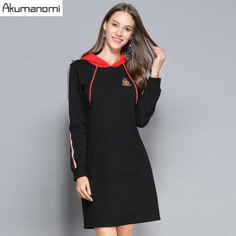 Hiver coton épaissir robe à capuche côté rayure pleine manches Badge Appliques poche vêtements pour femmes automne printemps robe grande taille