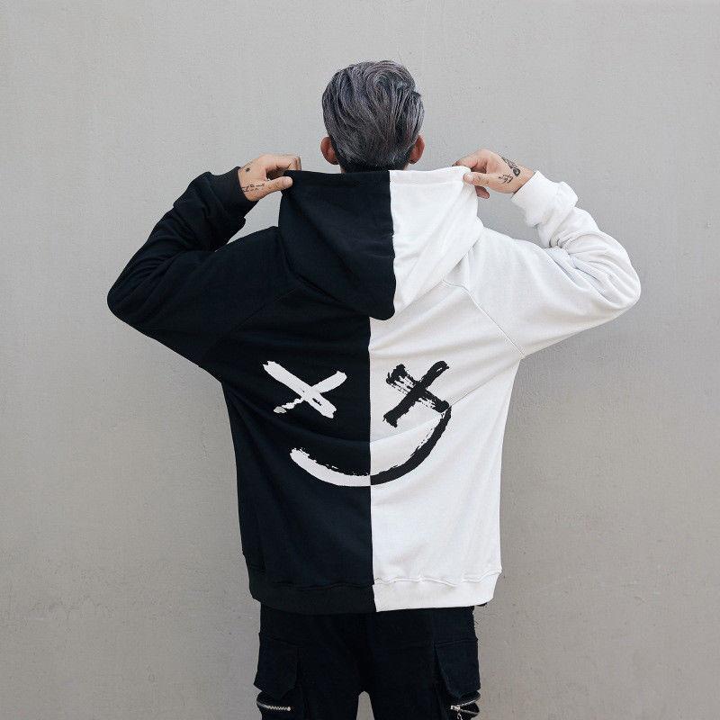 Dropshipping Suppliers Men Hoodies Sweatshirts Smile Print Headwear Hoodie Hip Hop Streetwear Clothing Us Size Plus Size 3XL
