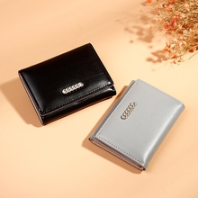 Japanese And Korean Version Buckle Short Small Wallet Ms. Multi-Card Position Fresh Pu Tri-Fold