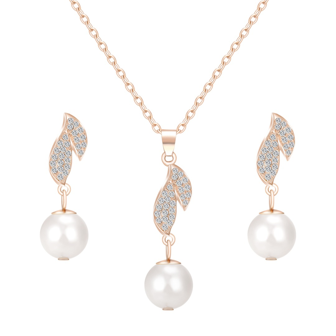 Simulated Pearl Zircon Crystal Long Drop Earring Necklace Jewelry Set Wedding Accessories Engagement Gift