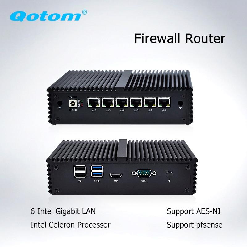 Qotom Q555G6 Q575G6 7th промышленный ПК шлюз брандмауэр маршрутизатор для pfSense-Intel i5 7200U i7 7500U AES-NI