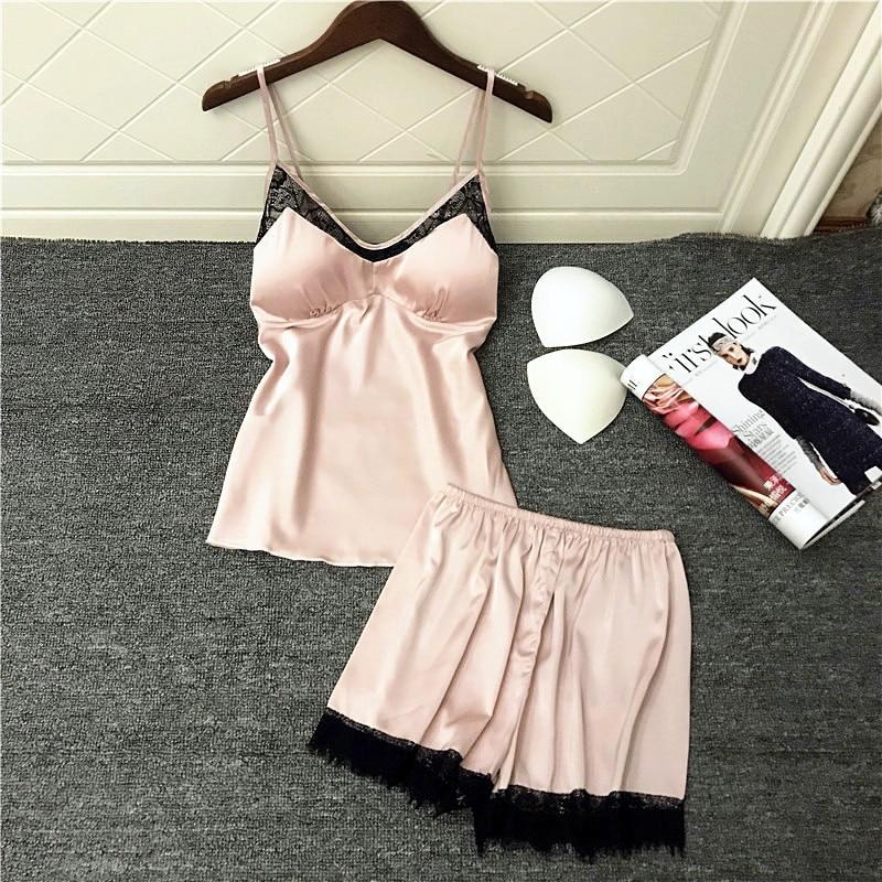 Lisacmvpnel Ice Silk Lace Sexy Women Shorts   Pajama     Set   Breathable With Chest Spaghetti Strap Female Sleepwear