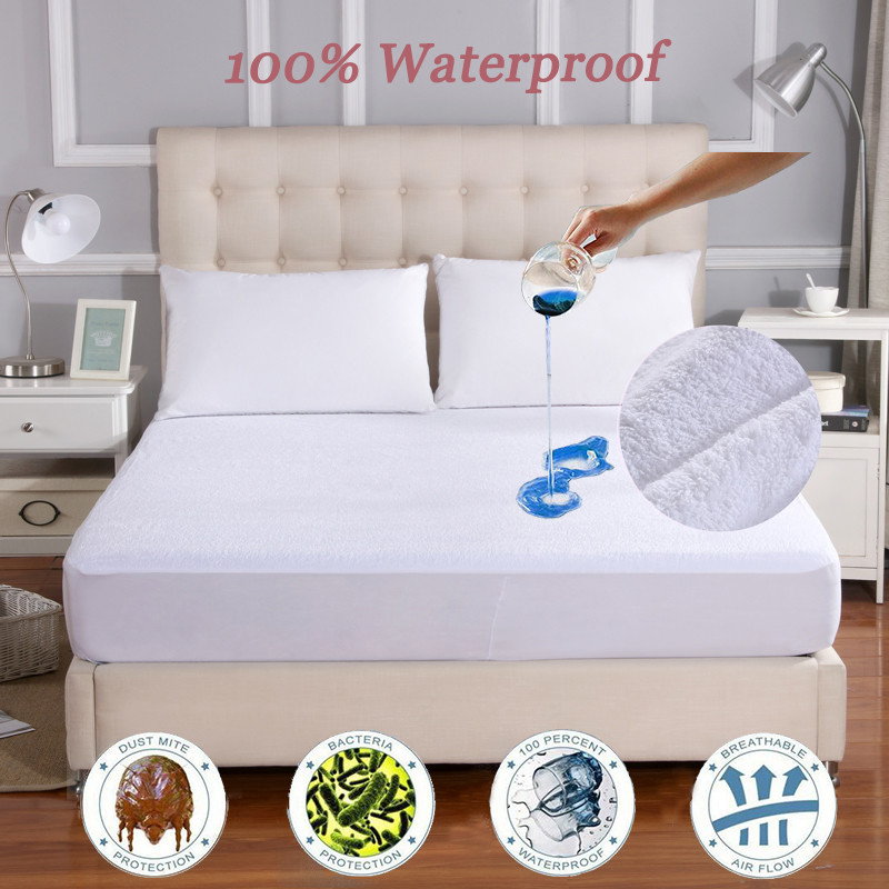 160X200 Terry Mattress Cover 100% Waterproof Mattress Protector Single Bed Bug Dust Mite Mattress Pad Cover For Mattress Cover