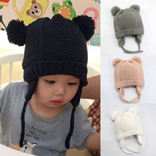 31645a05ca4 Cashmere Earmuffs Outdoor Baby Hat With Pompom Winter Warm Cotton Kids  Girl Boy Knit Baby Cap Toddler Infant Warm Newborn Hat