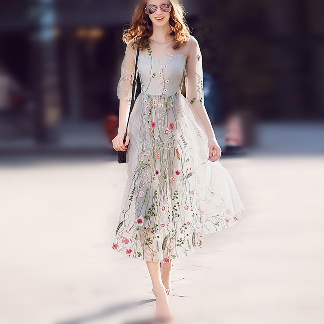 AL'OFA Floral Embroidery   Evening     Dresses   O Neck Half Sleeve Elegant Summer   Dress   Women Party Proms Formal   Evening   Vestido