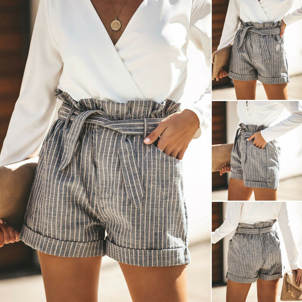 New Trendy Bandage Casual  European Style Womens Ladies Fashion Summer High Waist Striped Casual Beach Hot Fitness Shorts