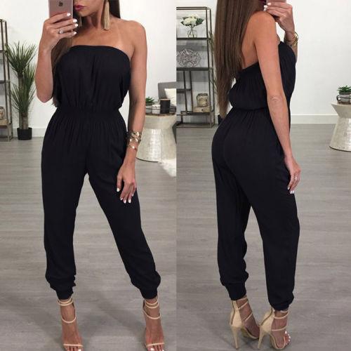 Sexy Women Ladies Clubwear V Neck Playsuit 2019 New Bodycon Party Soild Black Cool Jumpsuit Romper Trousers Wholesale