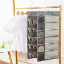15/30 Grids Oxford Cloth Wall Hanging Storage Bag Double Sided Bra Underwear Organizer Mesh Storage Bags Closet Organizer