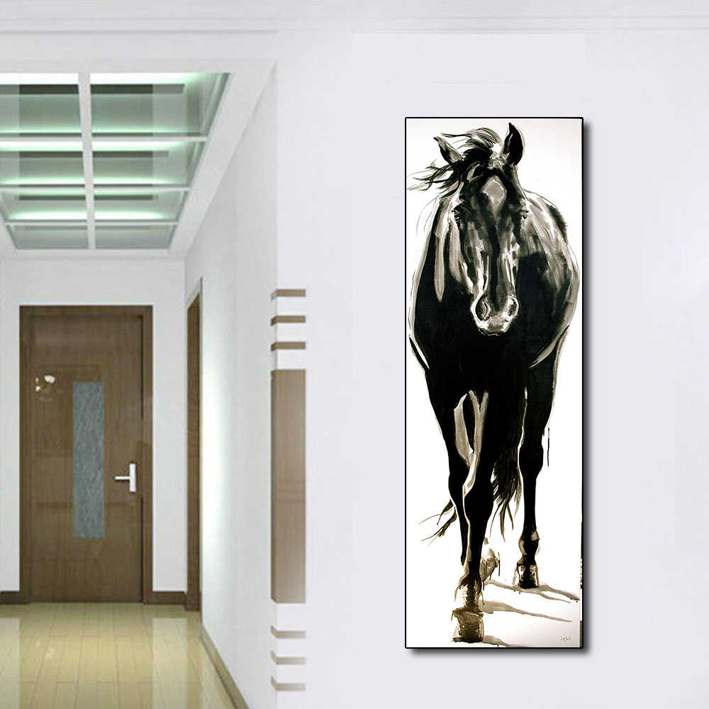 AAVV Wall Art Canvas Picture Animal Painting Black and White Horse for Living Room Home Decor No Frame