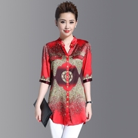 2019 Summer Women Red Silk Blouse V neck Printed Loose Plus Size 3xl 4xl Shirts Casual Tops