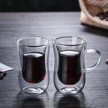 Инновационная стеклянная чашка с двойными стенками, термостойкая Стеклянная Ручка для чая, кофе, латте, эспрессо, холодный чай, кружки для посудомоечной машины
