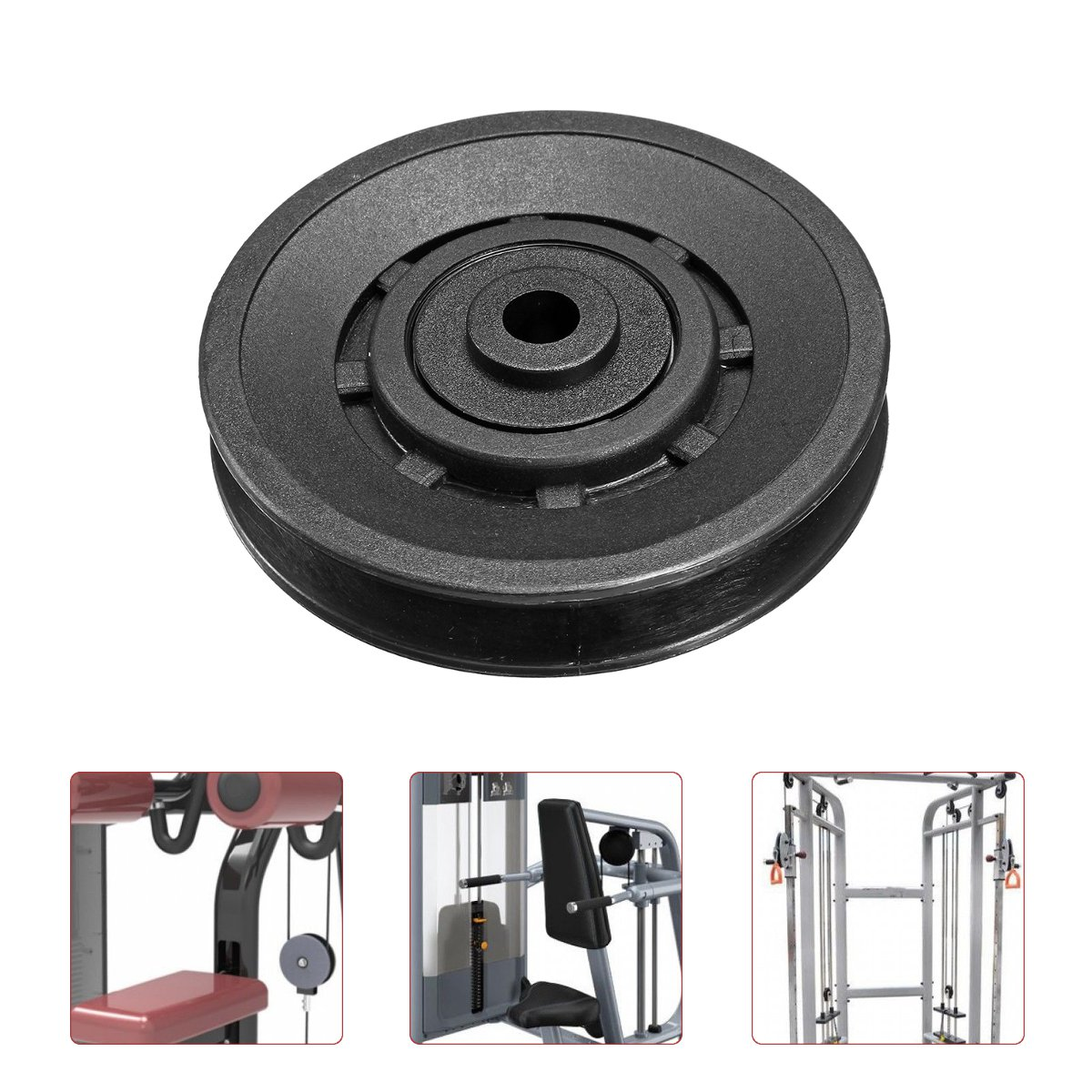 High Quality 90mm Universal Nylon Wearproof Bearing Pulley Wheel Cable Gym Sport Fitness Equipment Part Universal Black