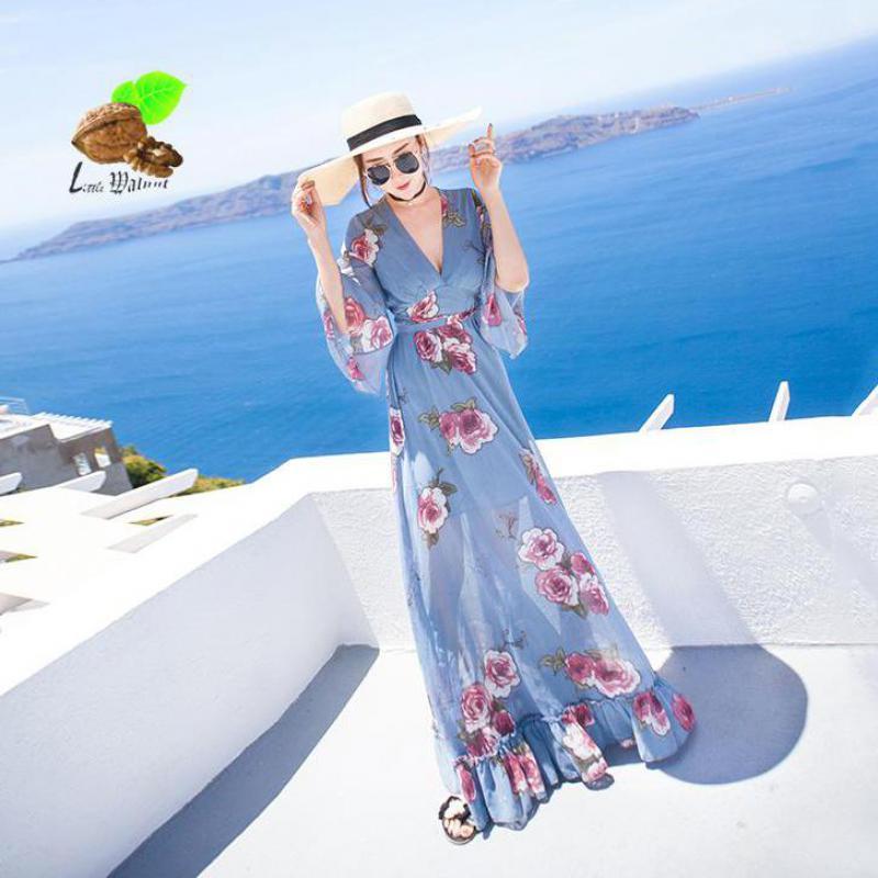 d96854002c45 Estate Di Nuove Femminile Increspature Retro Dell annata Vestito Stampa  Chiffon Spiaggia Donne Flare Delle Dalla Floreale A ...
