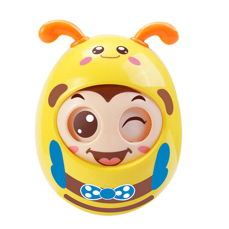 Blinking Tumbler Toy Cartoon Round Flashing Early Educational Toy Baby Music Rattle Toy Baby Toy Tooth Gel