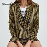 Queechalle 2019 New Fashion Autumn Plaid Coat Elegant Office Lady Highstreet Tweed Blazer Women Loose Short Outwear Yellow