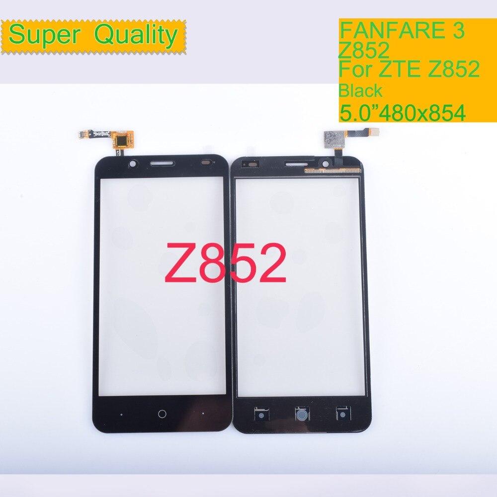 10Pcs/lot Touch Screen Digitizer For ZTE FANFARE 3 Z852 Panel Touchscreen Lens Front Glass Sensor NO LCD