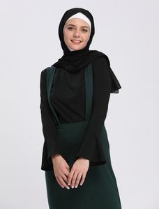 Image 5 - Muslim Women Tops Undershirt Abaya Long Sleeve Tight T Shirt Blouse Horn Sleeve O neck Casual Islamic Clothing Turkey Arab New