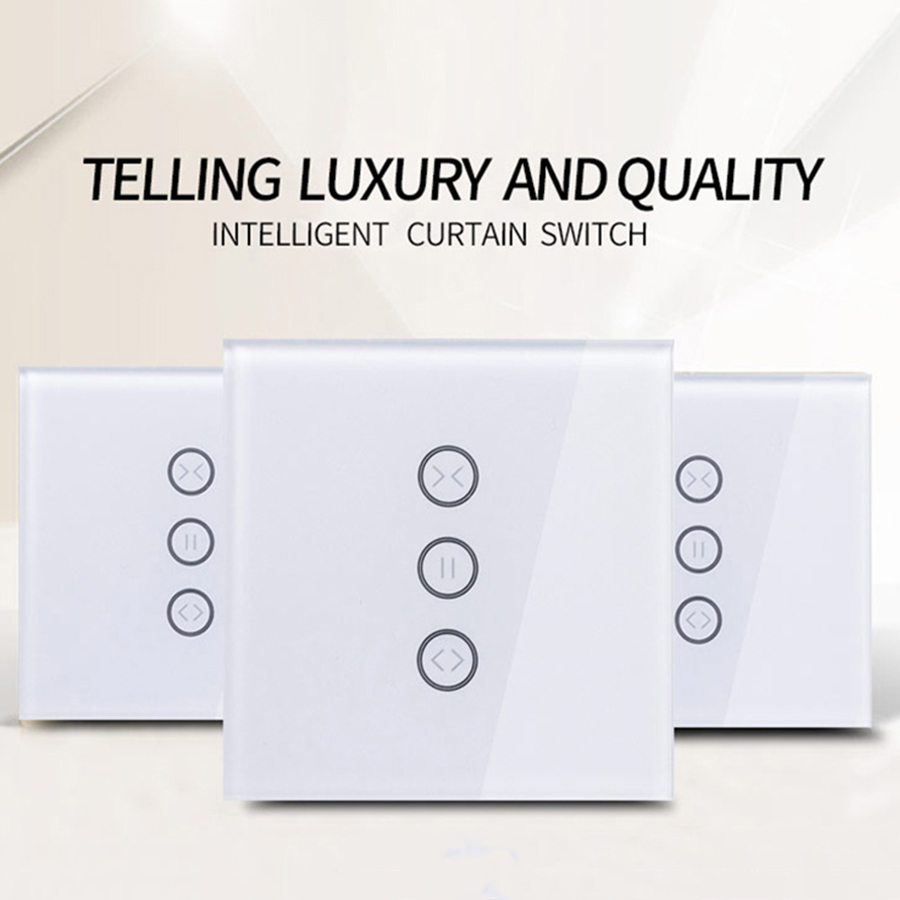 EU Wifi Smart Touch Curtain Switch Voice Control By Alexa And Google Phone Control Fireproof ABS Box For Electric Curtain Motor